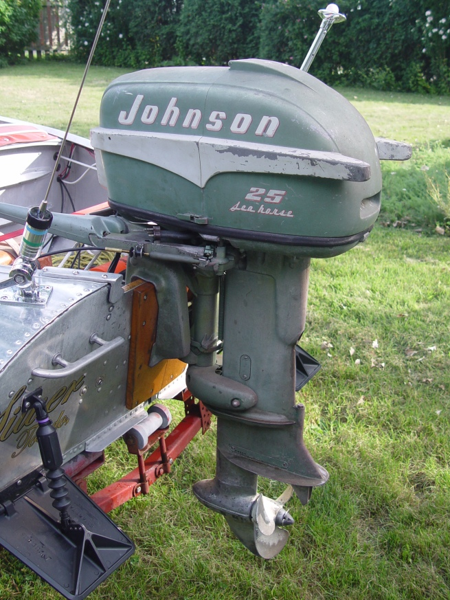 1955 Johnson RD-17 25hp outboard.